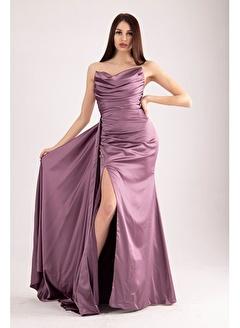 Belamore  Straplez Drapeli Detaylı Yırtmaçlı Saten Kumaş Abiye&Mezuniyet Elbisesi 1607209.333